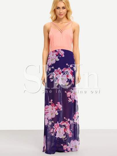 Pink Blue V Neck Floral Split Patterned Maxi Dress