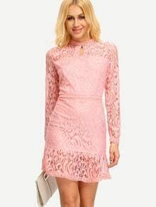 Peplum Hem Keyhole Lace Dress