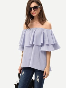 Royal Blue Ruffle Off The Shoulder Blouse