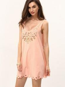 Pink U Neck Hollow Shift Dress