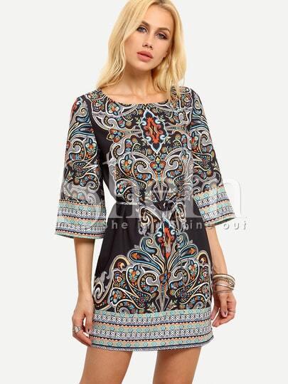 Paisley Print Self-Tie Dress