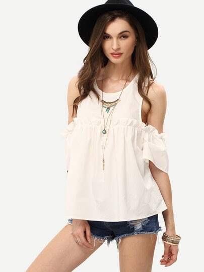 White Cold Shoulder Ruffle Details Blouse