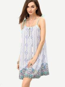 Multicolor Print Self-tie Strap Shift Dress
