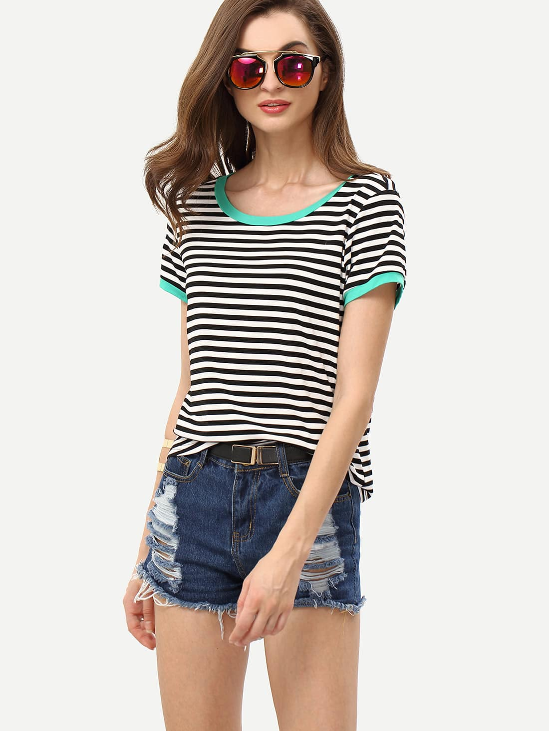 Black White Striped Short Sleeve T-shirt -SheIn(Sheinside)