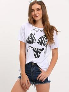 White Short Sleeve Bikini Print T-shirt