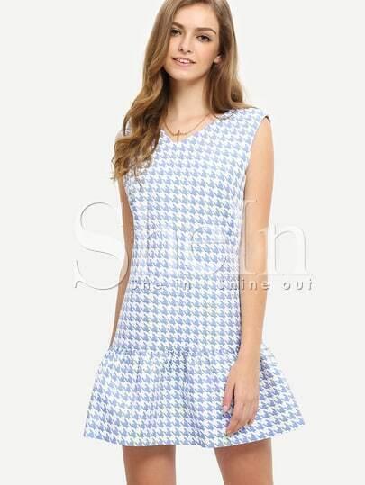Blue Sleeveless Houndstooth Drop Waist Flounce Dress