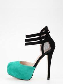 Black & Green Mesh Panel D'orsey Platform Heels