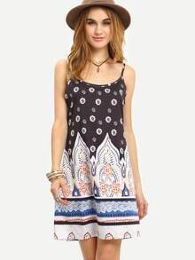 Black Slip Spaghetti Strap Backless Vintage Print Dress