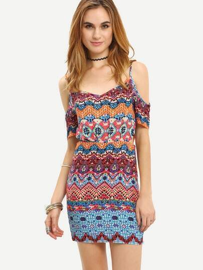 Off The Shoulder Watercolor Hipster Tribal Print Tradition Bodycon Dress