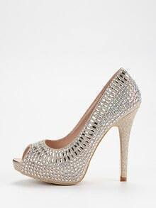 Gold Sequin Peep Toe Platform Pumps