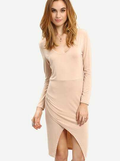 Apricot Bodysuit Long Sleeve Bodice Split Fishtail Dress