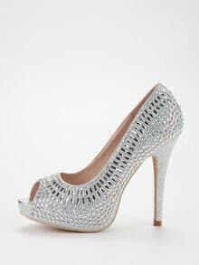 Silver Sequin Peep Toe Platform Pumps
