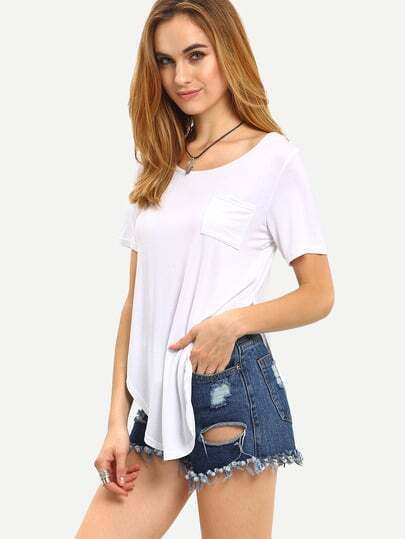 White Short Sleeve Split Pocket T-shirt