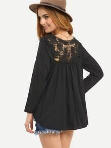 Crochet Shoulder Loose Fit Blouse - Black