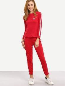 Red Crew Neck Crown Sweatshirt With Pant