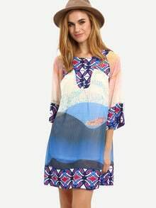 Folk Print Shift Dress