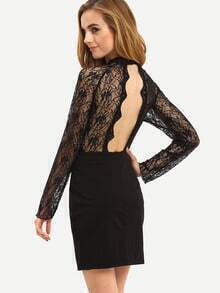 Black Backless Lace Bodycon Dress