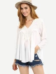 Crochet Shoulder Loose Fit Blouse - White