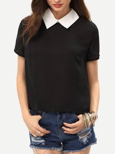 Black Contrast Collar Keyhole Shirt