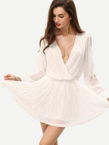White Coctel Deep V Neck Split Sleeve Pleated Dress