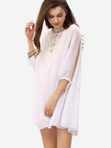 Applique Neck Split Sleeve Sheer Chiffon Dress