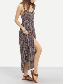 Multicolor Spaghetti Strap Tribal Print Split Dress