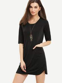 Black Twin Pocket Half Sleeve Dress