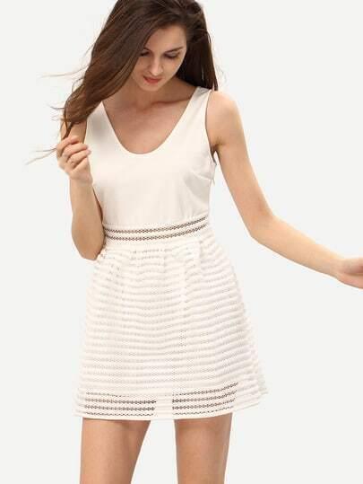 White Sleeveless Hollow Flare Dress