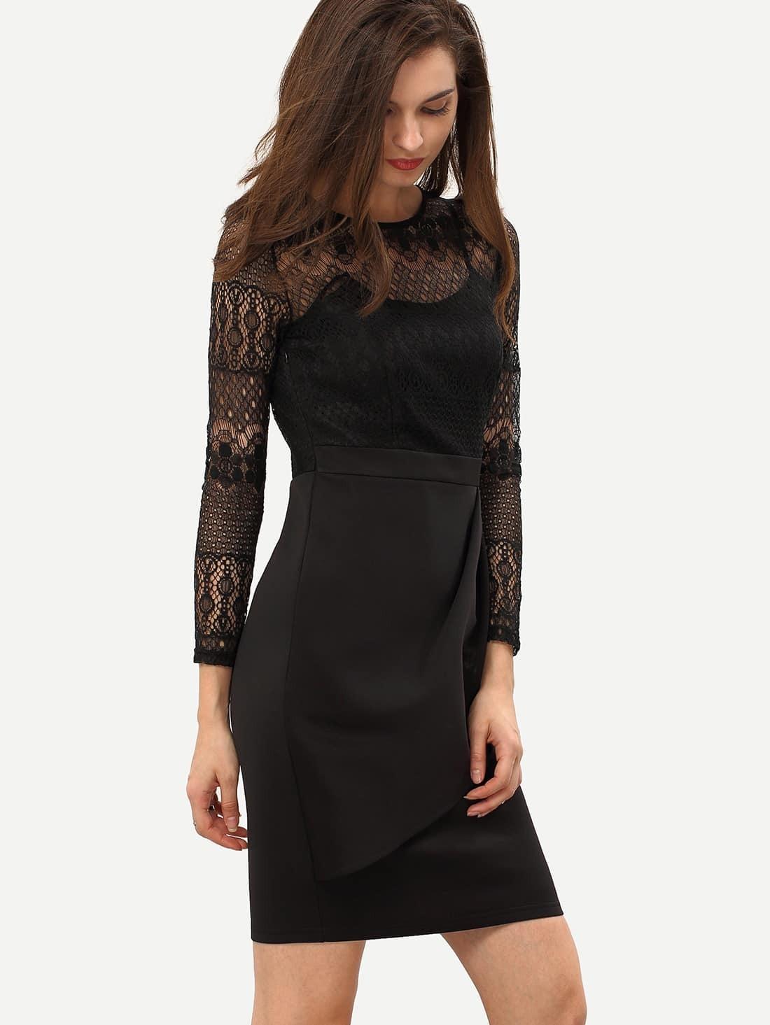 Kleid mit spitze schwarz vintage kleid mit spitze in - Shein kleidung ...