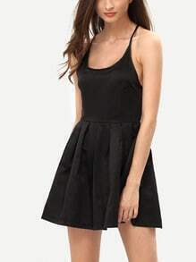 Crisscross Back Flare Black Dress