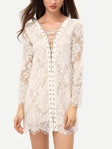 White V Neck Lace Up Lace Dress