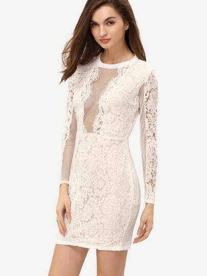 White Long Sleeve Hollow Lace Sheath Dress