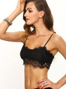 Spaghetti Strap Lace Crop Black Cami Top
