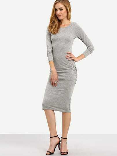 Grey Round Neck Ruched Front Sheath Dress