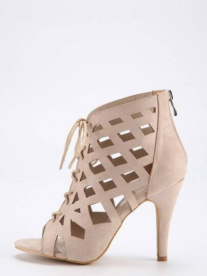Apricot Caged Lace Up Peep Toe Sandals