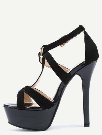 Faux Black Suede Strappy Platform High Heel Sandals
