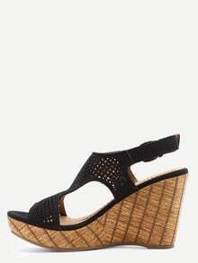 Black Laser Cut T-Strap Wedges