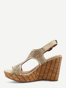 Gold Laser Cut T-Strap Wedges