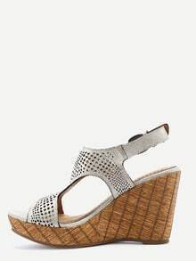 Silver Laser Cut T-Strap Wedges