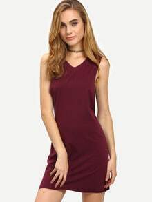 Dark Purple Sleeveless V Neck Dress
