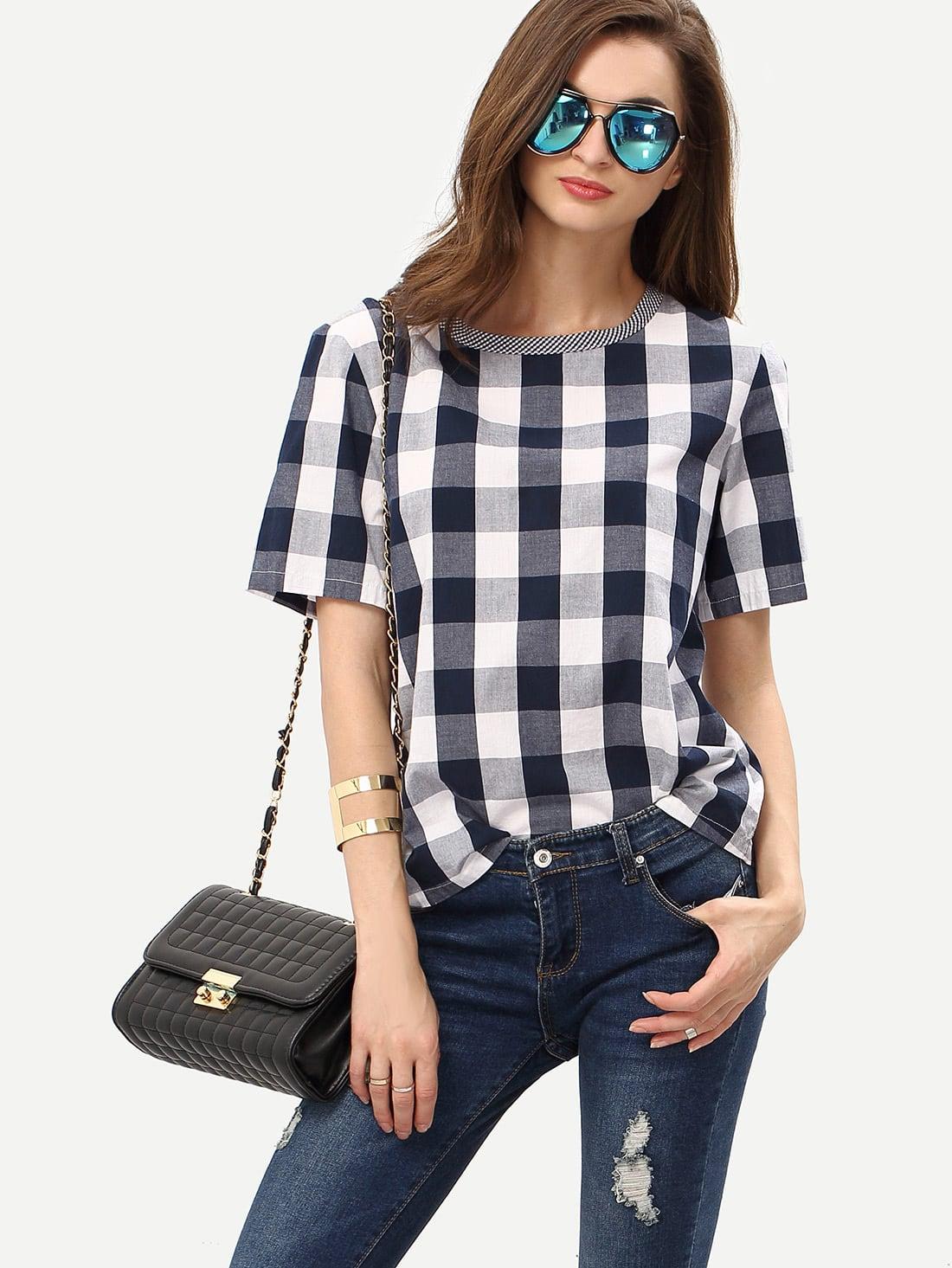 Фото Check Round Neck T-shirt. Купить с доставкой