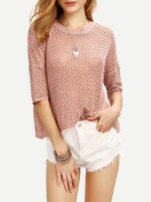 Pink Dropped Shoulder Seam Half Sleeve Sweater