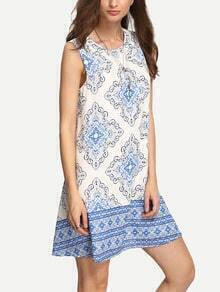 Blue Print Cut-out Back Shift Dress