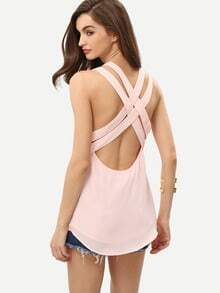 Pink V Neck Crisscross Back Cami Top