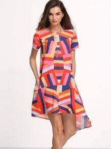 Color-block Short Sleeve High Low Shift Dress