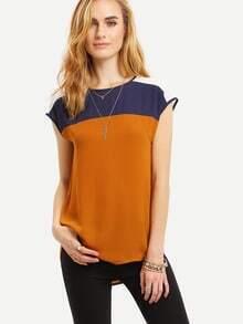 Multicolor Sleeveless Patchwork Zipper T-shirt