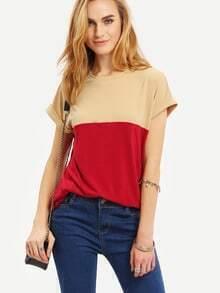 Multicolor Cap Sleeve Patchwork T-shirt