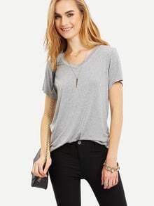 Grey V Neck Casual T-shirt