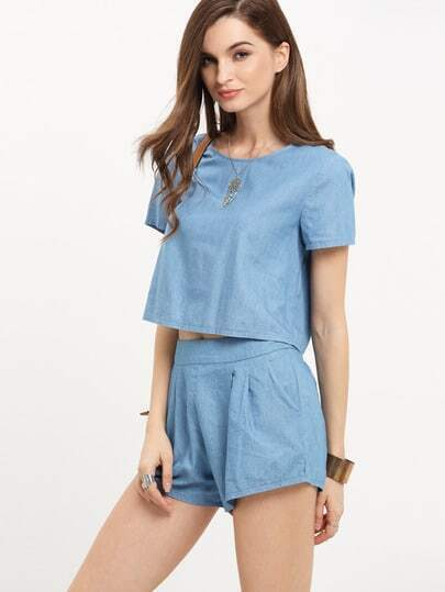 Light Blue Short Sleeve Twopiece
