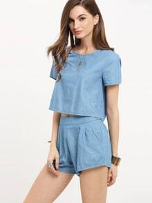 Light Blue Short Sleeve Twopiece